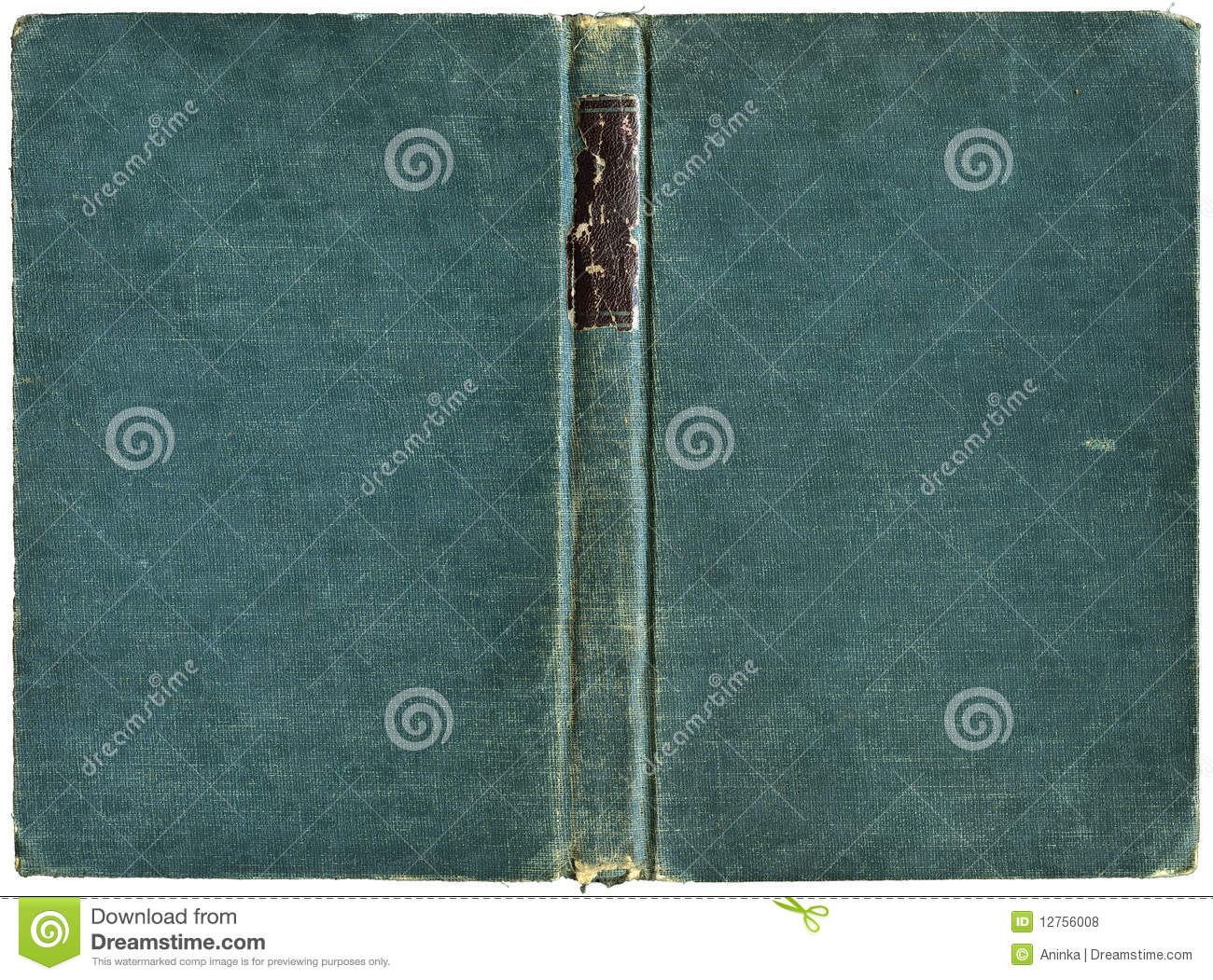 Open book cover in green canvas - isolated on white - with clipping    Open Book Cover