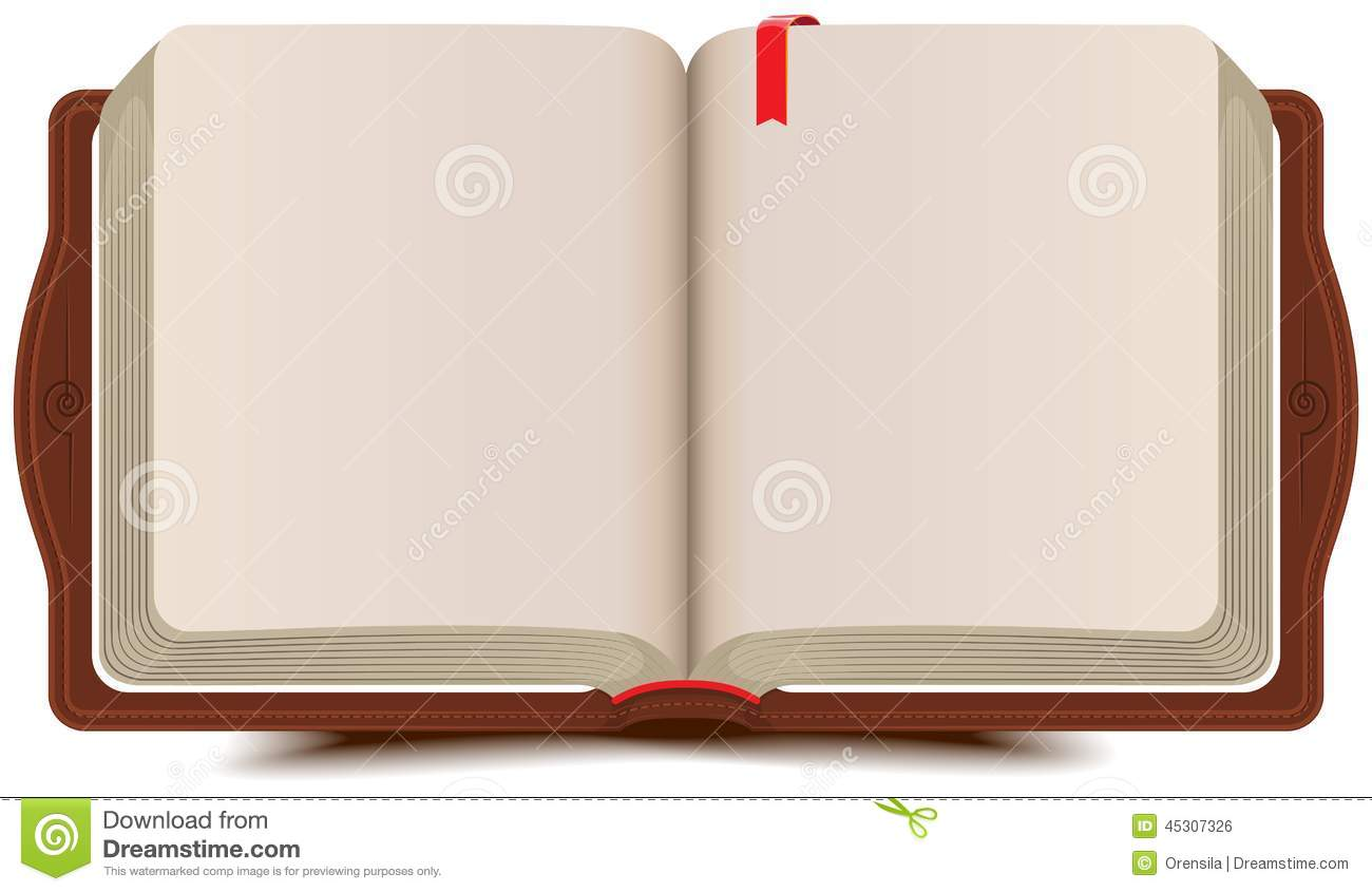 Book Cover Illustration Fee : Open book diary with bookmark stock vector image