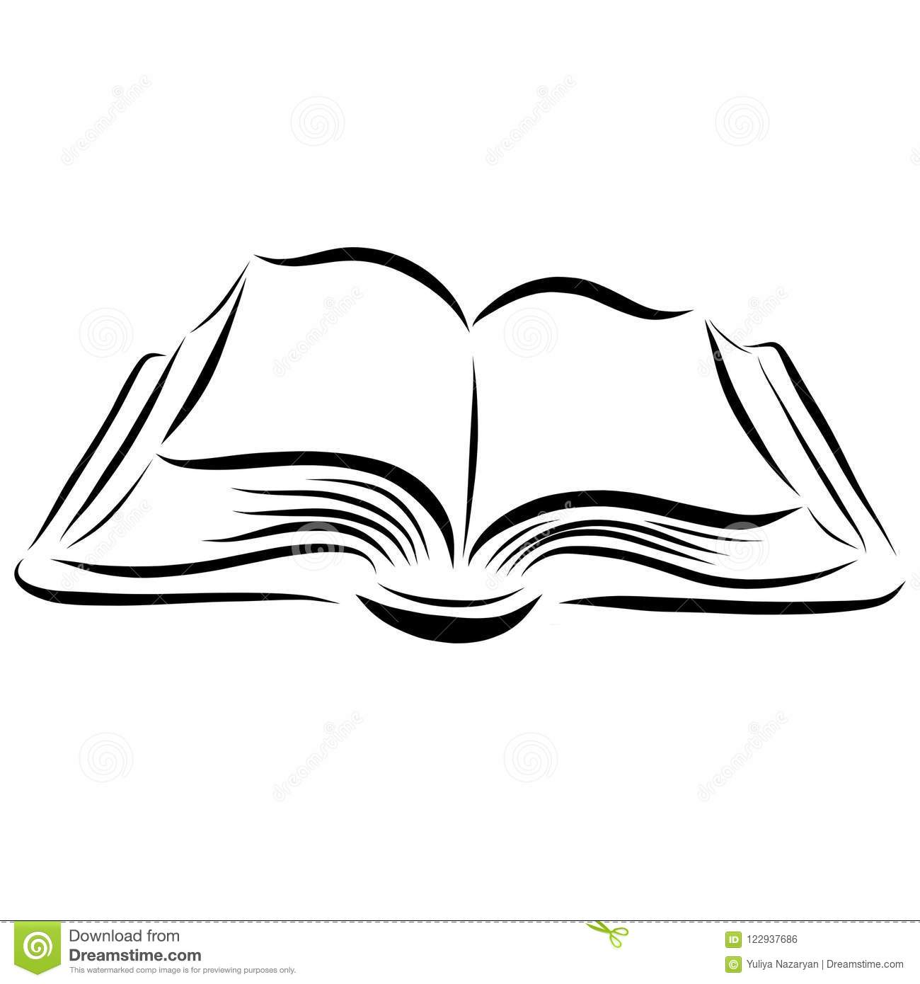 Drawing Smooth Lines Reviews : Open book drawn with smooth lines stock illustration