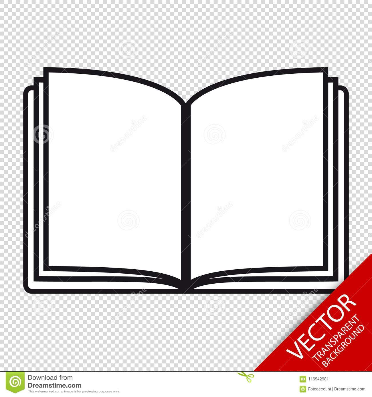 open book editable vector icon isolated on transparent