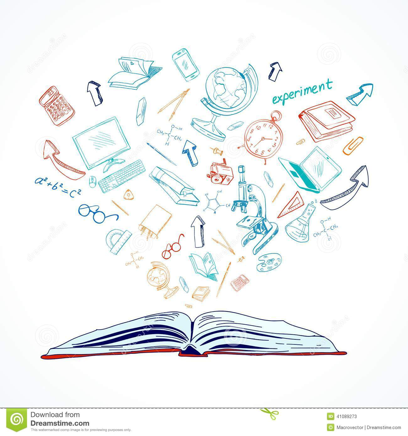 Stock Illustration Open Book Education Concept Doodle School Icons Set Vector Illustration Image41089273 on alarm clock drawing