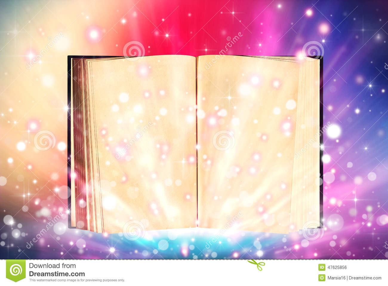 Open Book Emitting Sparkling Light Stock Photo - Image of