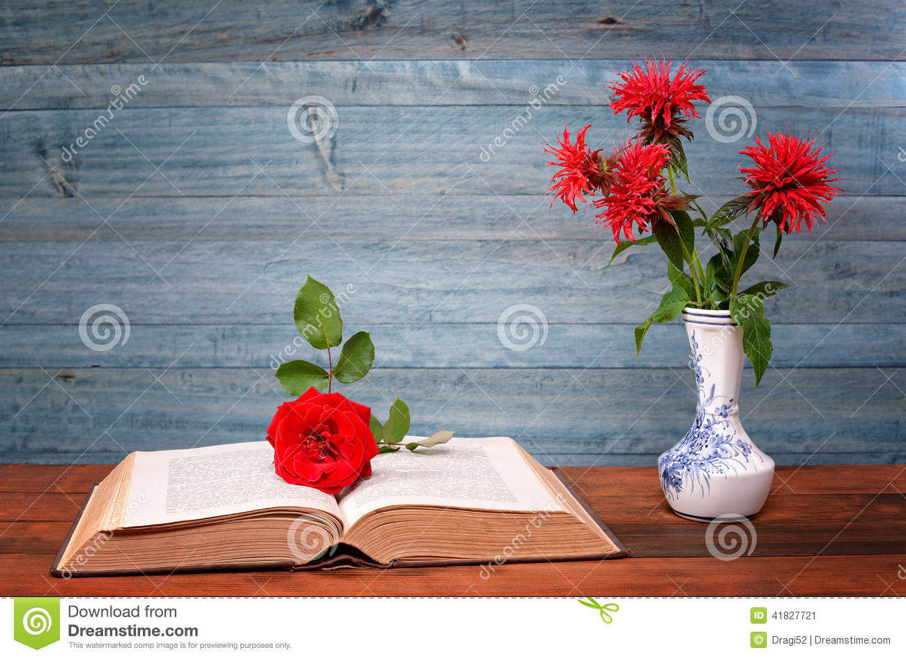 Open Book Flower And Rose Ceramic Vase Stock Photo Image 41827721