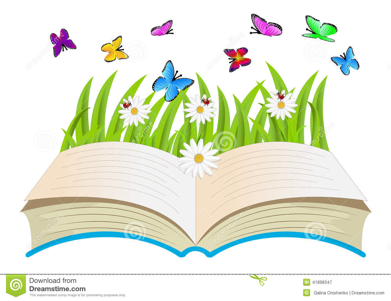 Open Book Flowers And Butterflies Stock Vector Image 41898347