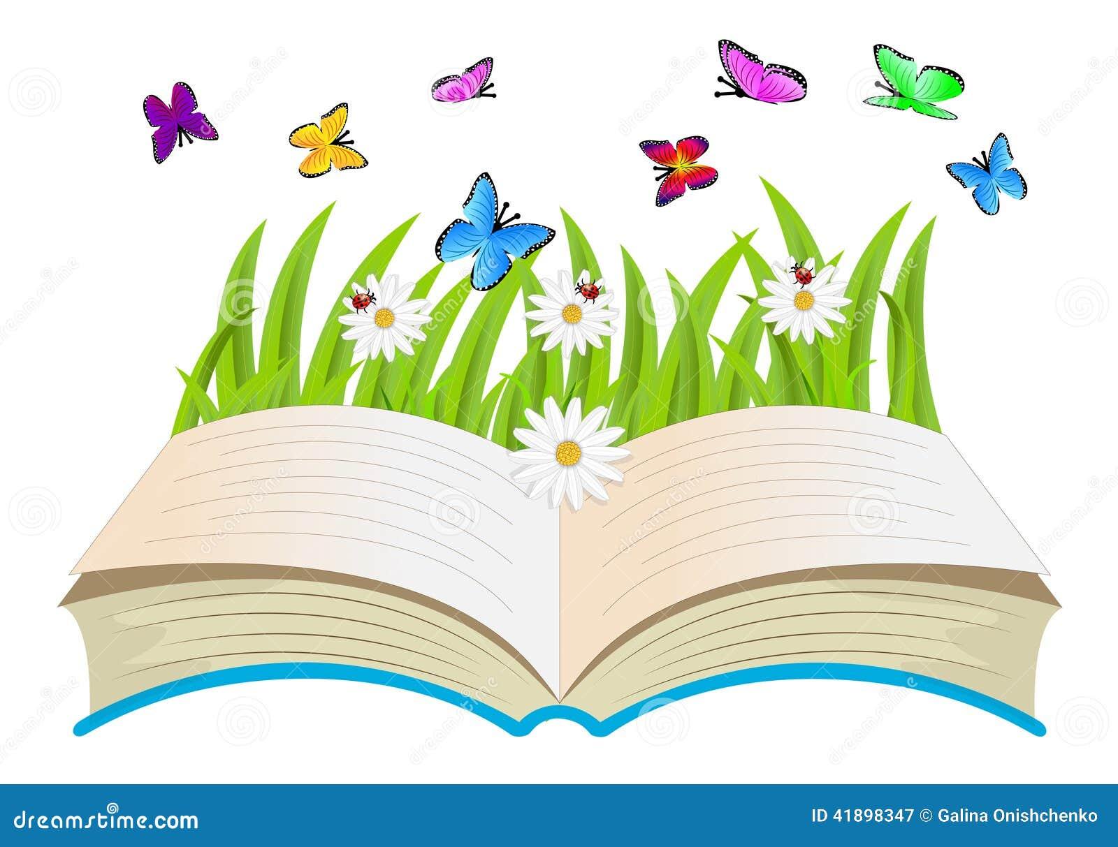 Open Book Flowers And Butterflies Stock Vector Image