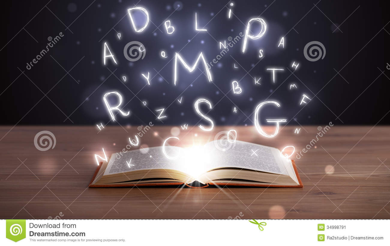 Open Book With Glowing Letters Flying Out Stock Image