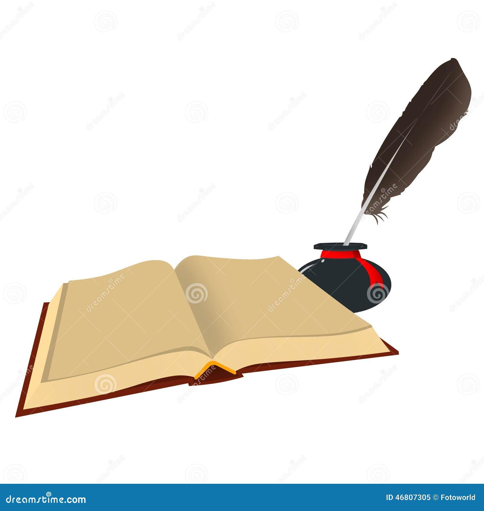 Перо чернильница и книга картинки