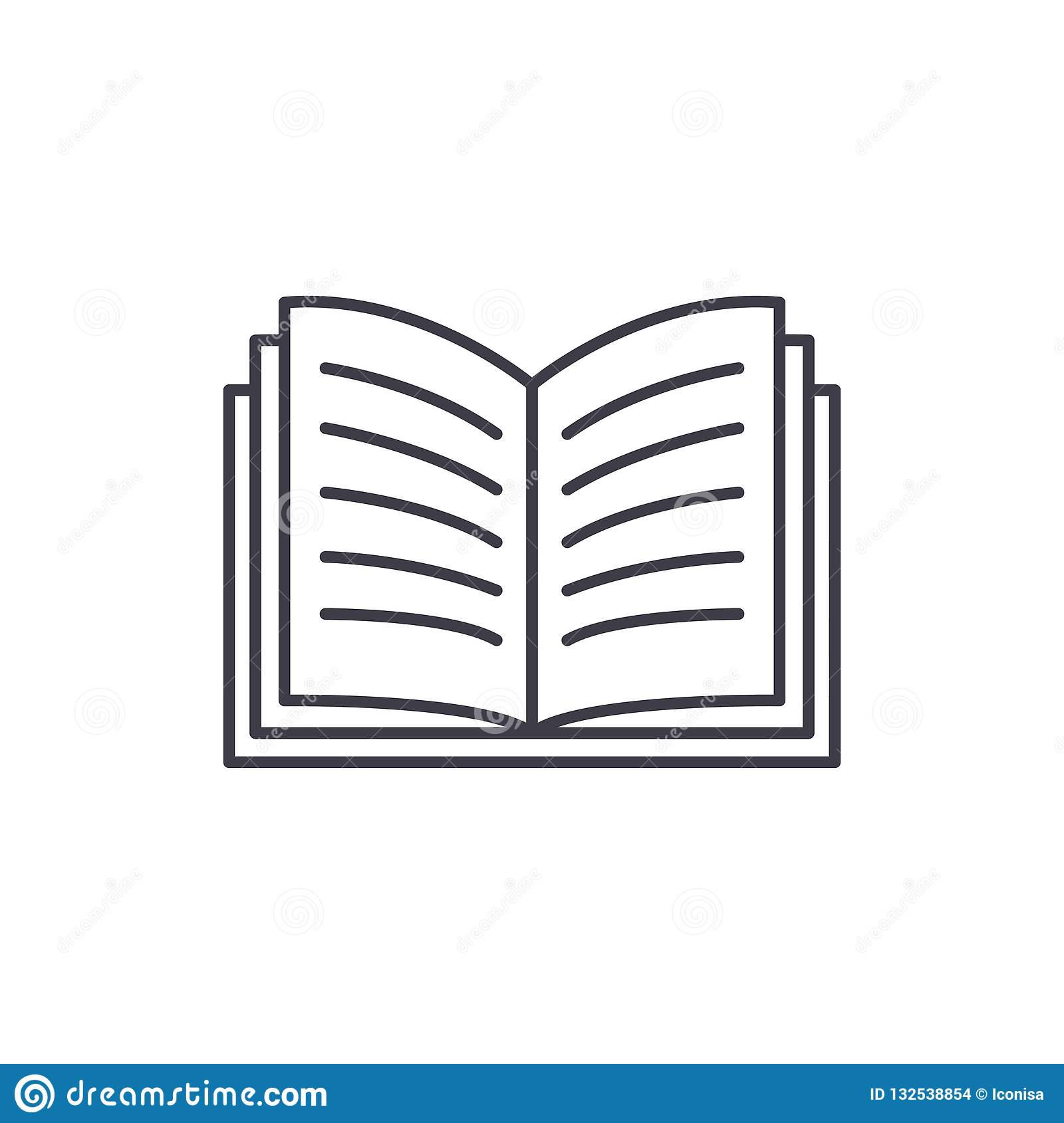 Open book line icon concept. Open book vector linear illustration, symbol, sign