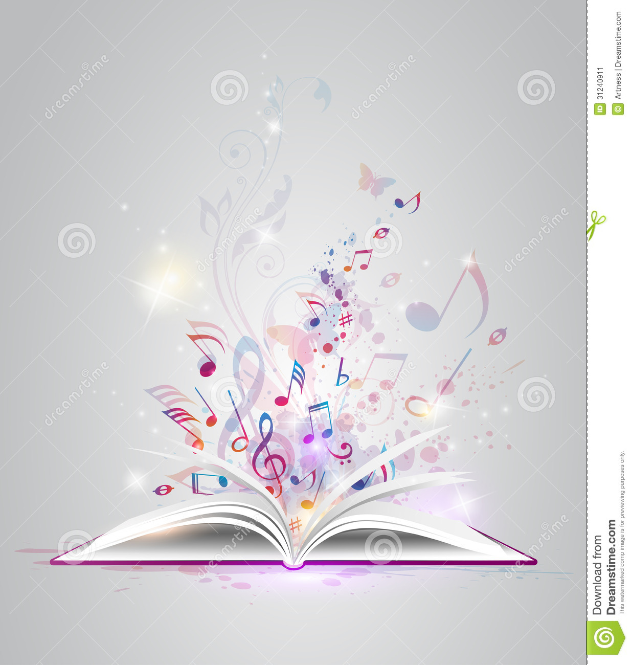 Vector abstract background with open book and notes.