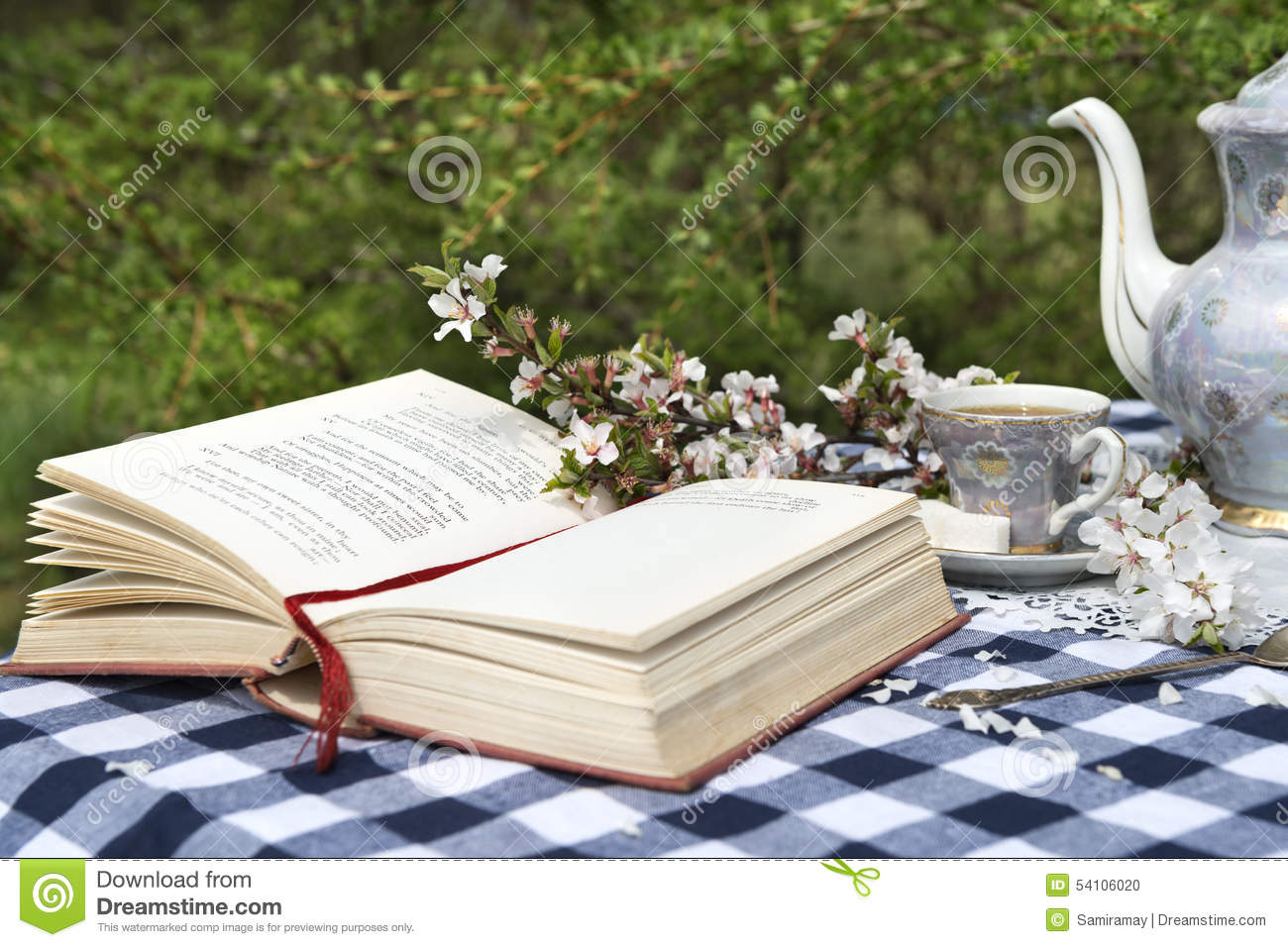 Set The Table Book Open Book And Old Tea Set On The Table Stock Photo Image 54106020
