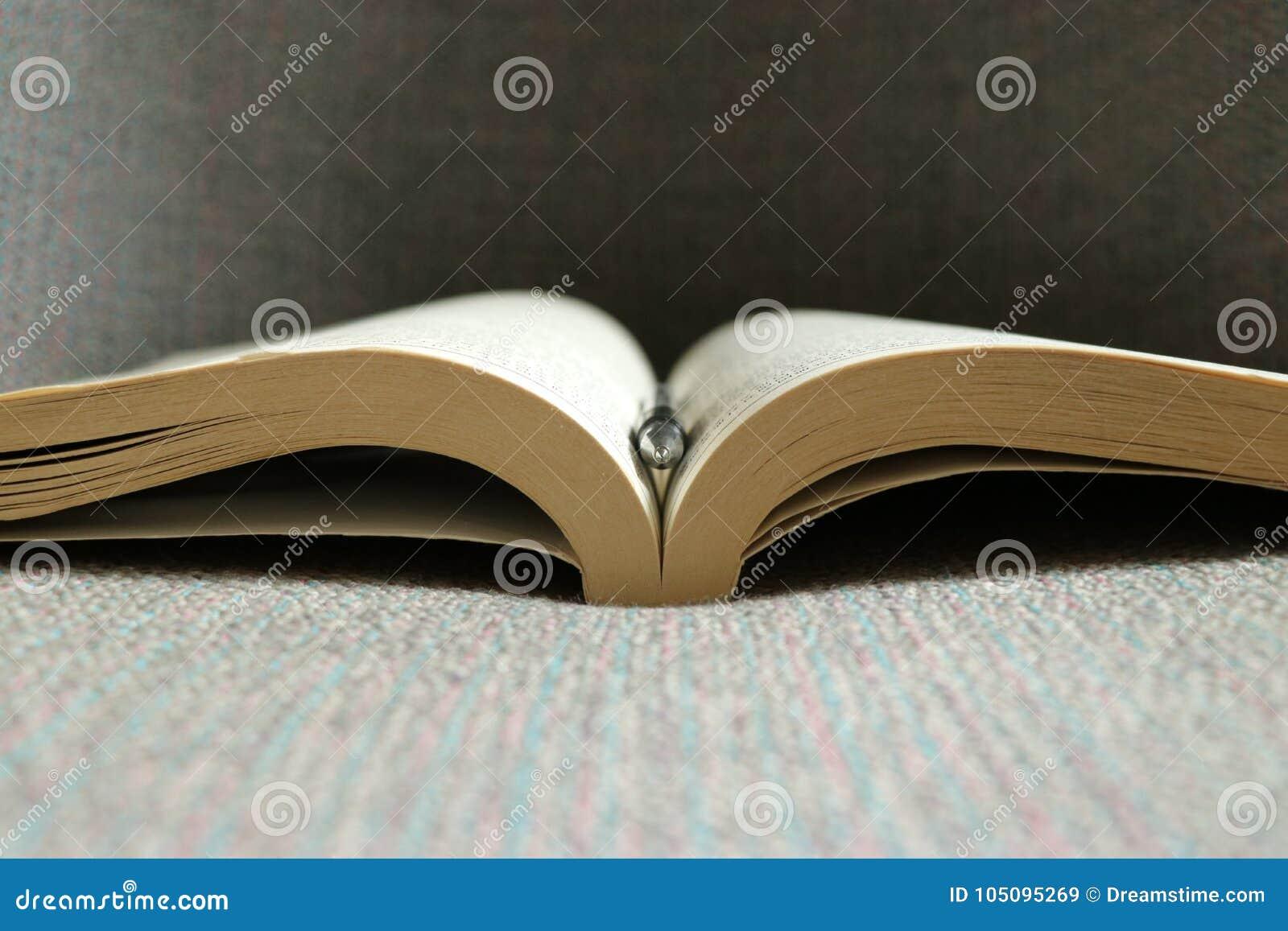 An open book and a pen