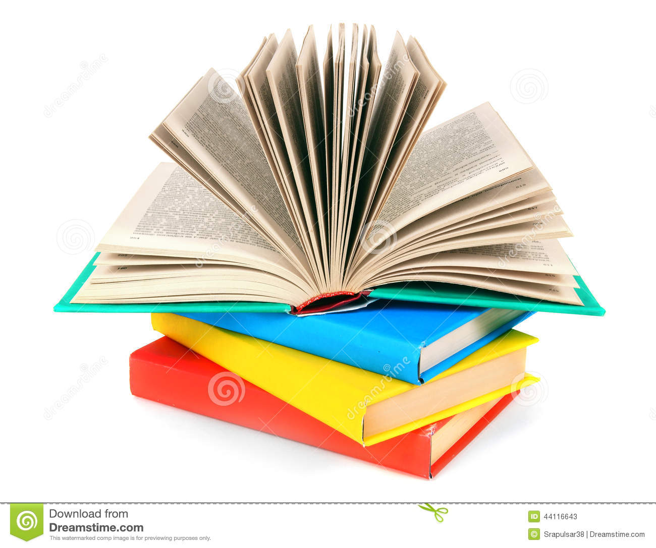 Top Photo Book: The Open Book On A Pile Of Multi-coloured Books. Stock