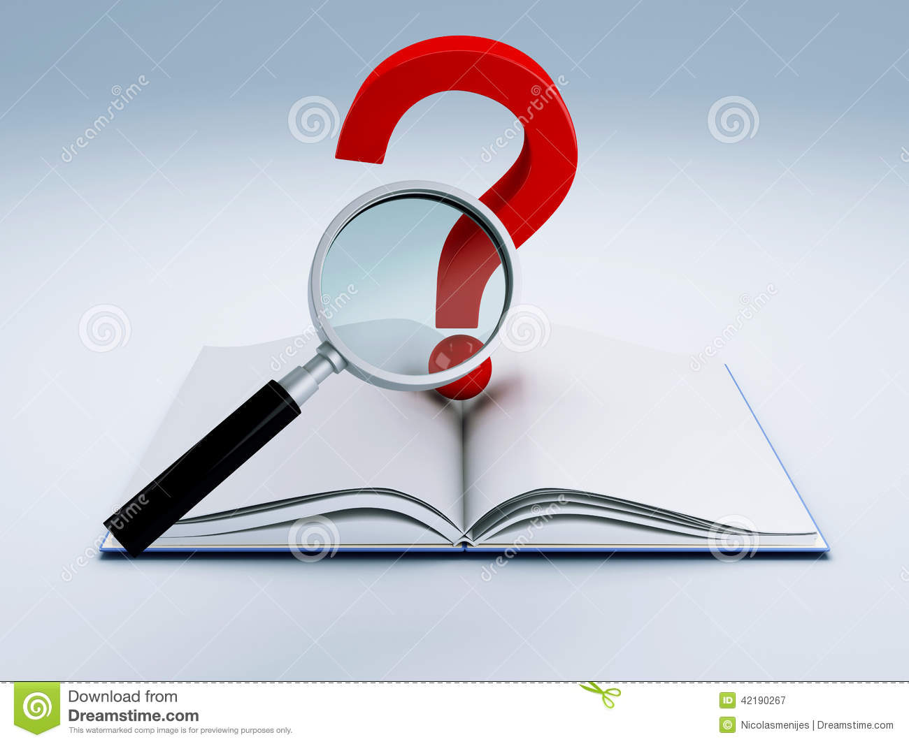 Open book and a question mark