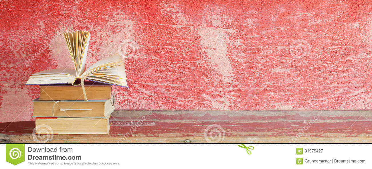 Open Book, Red Grungy Background, Stock Image - Image of literary