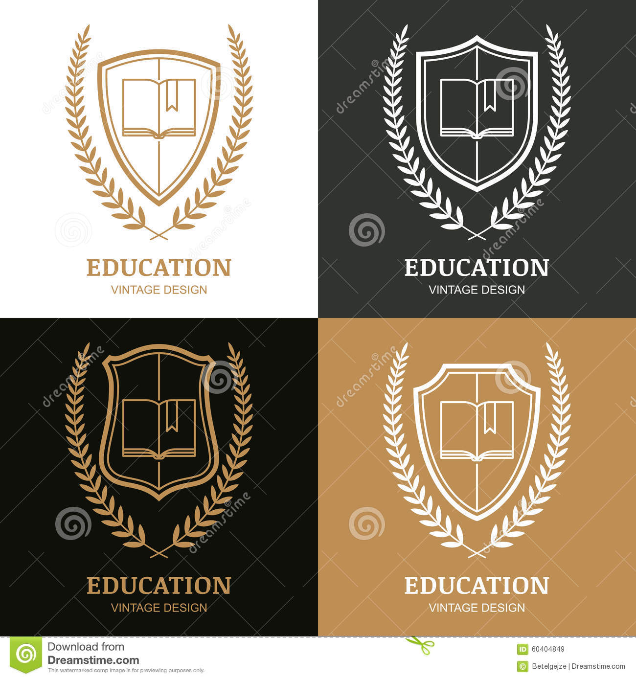 open book  shield and laurel wreath linear symbol  stock