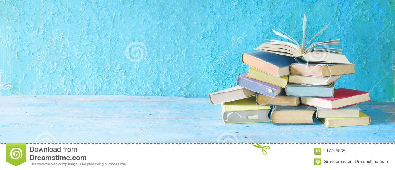 Open Book On An Stack Of Books  Stock Image - Image of literature