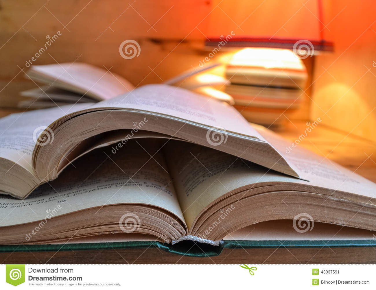 Book Books Lamp Open Paper Red Stack Table