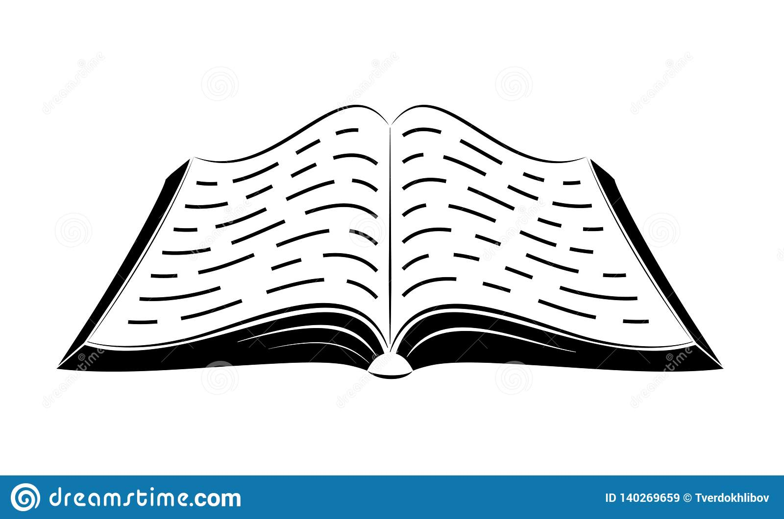 An Open Book On The Table Simple Black Outlines Logo Or