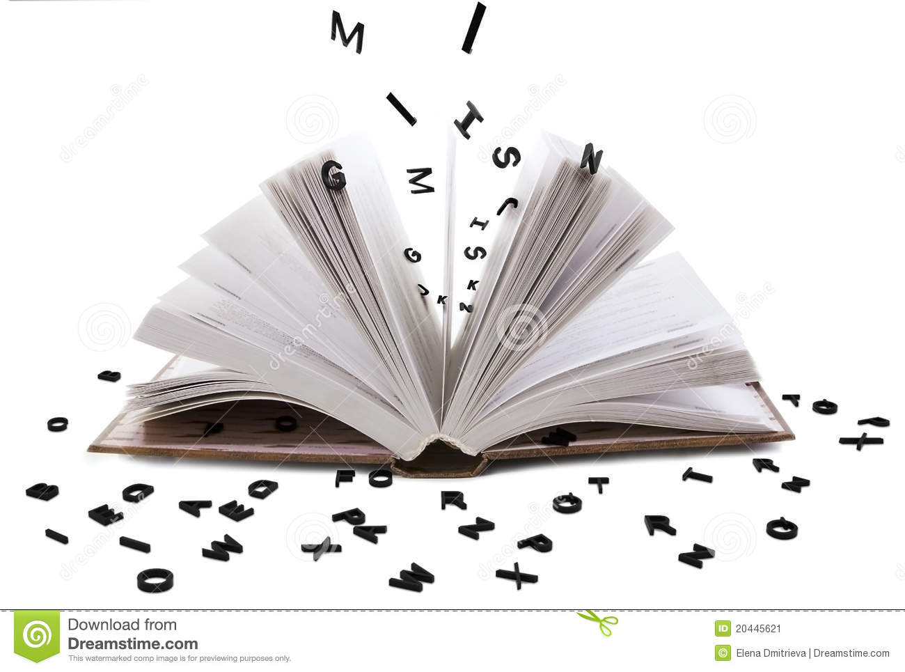 Open book whith black letters