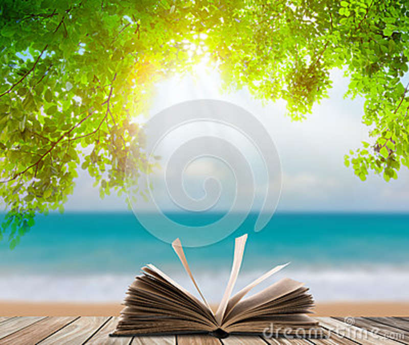 Open book on wood floor with green grass and leaf over beach sea