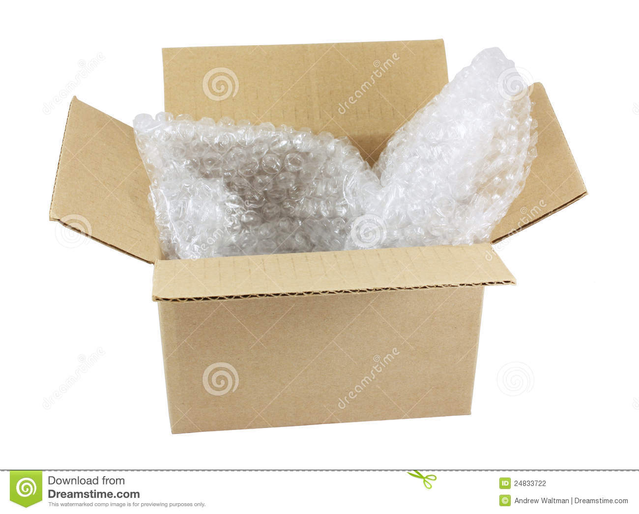 Open box with bubble wrap