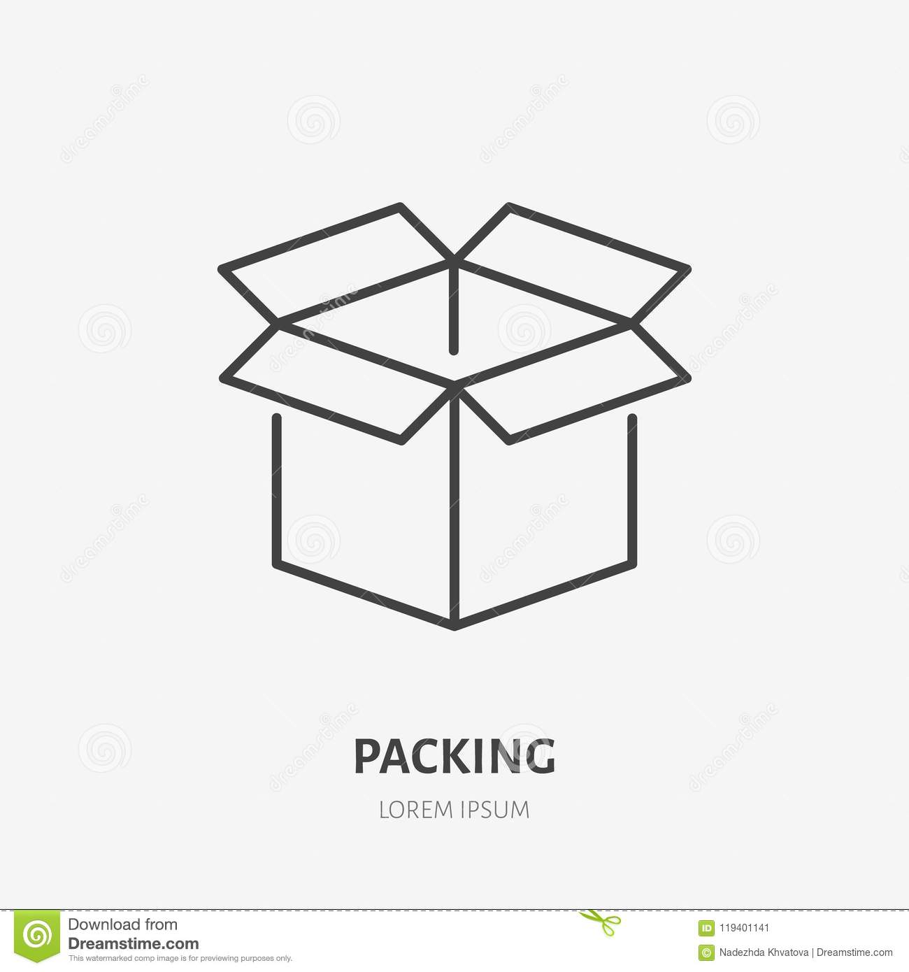 Open box flat line icon. Delivery, packing sign. Thin linear logo for freight services, cargo shipping