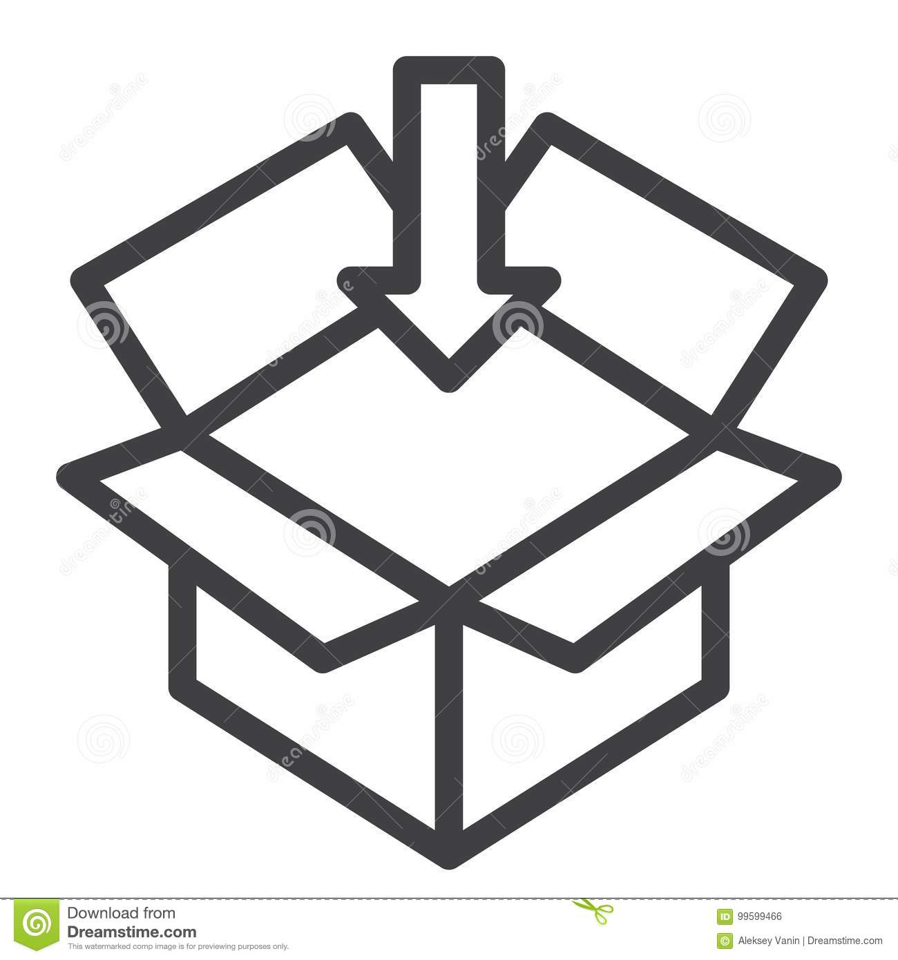 Open box line icon stock vector illustration of container 99599466 open box line icon biocorpaavc Choice Image