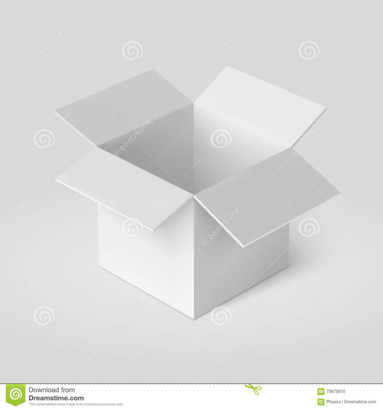 Open Box Template Isolated On White