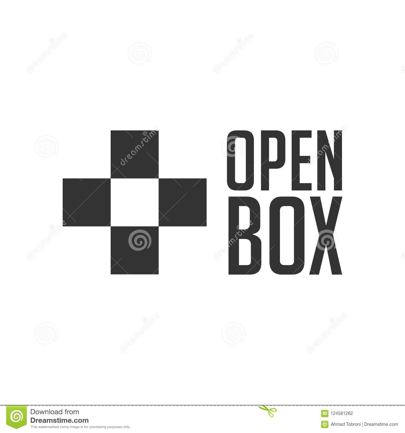 Open Box Vector Template Design