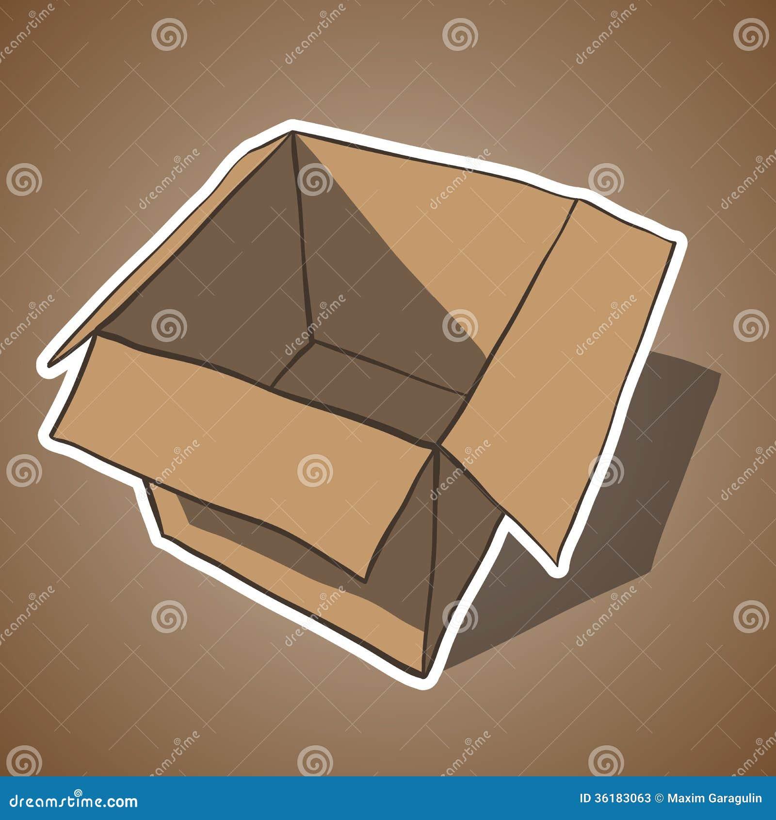 Open Box With White Outline. Cartoon Vector Stock Photos
