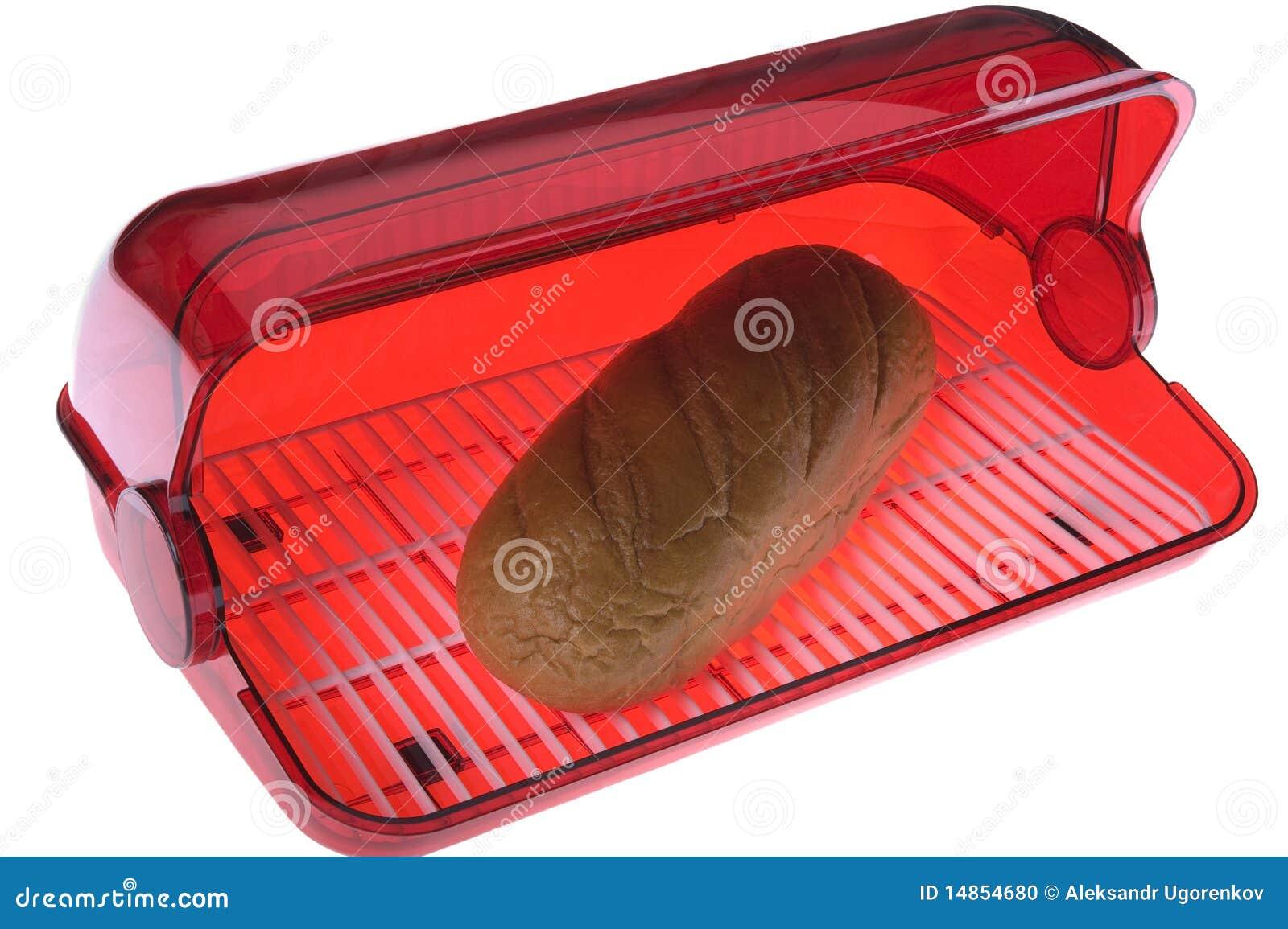 Open bread box on white