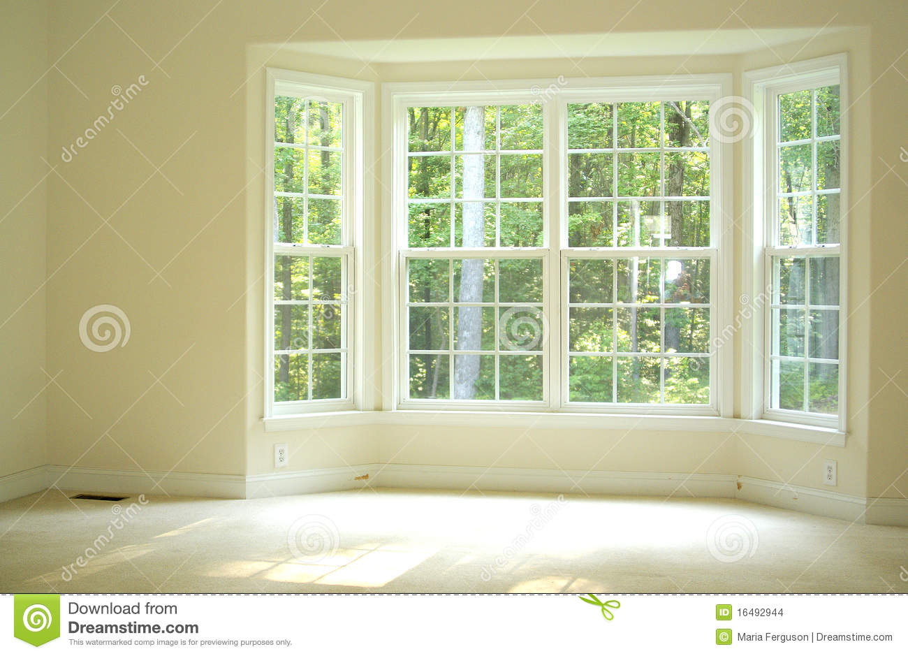 Open And Bright Room With Bay Window Stock Images - Image ...