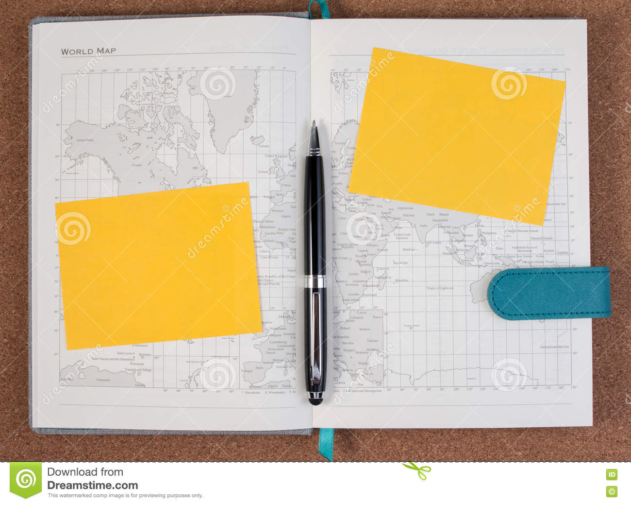 Open business diary map book with world map with pen stock image royalty free stock photo gumiabroncs Image collections