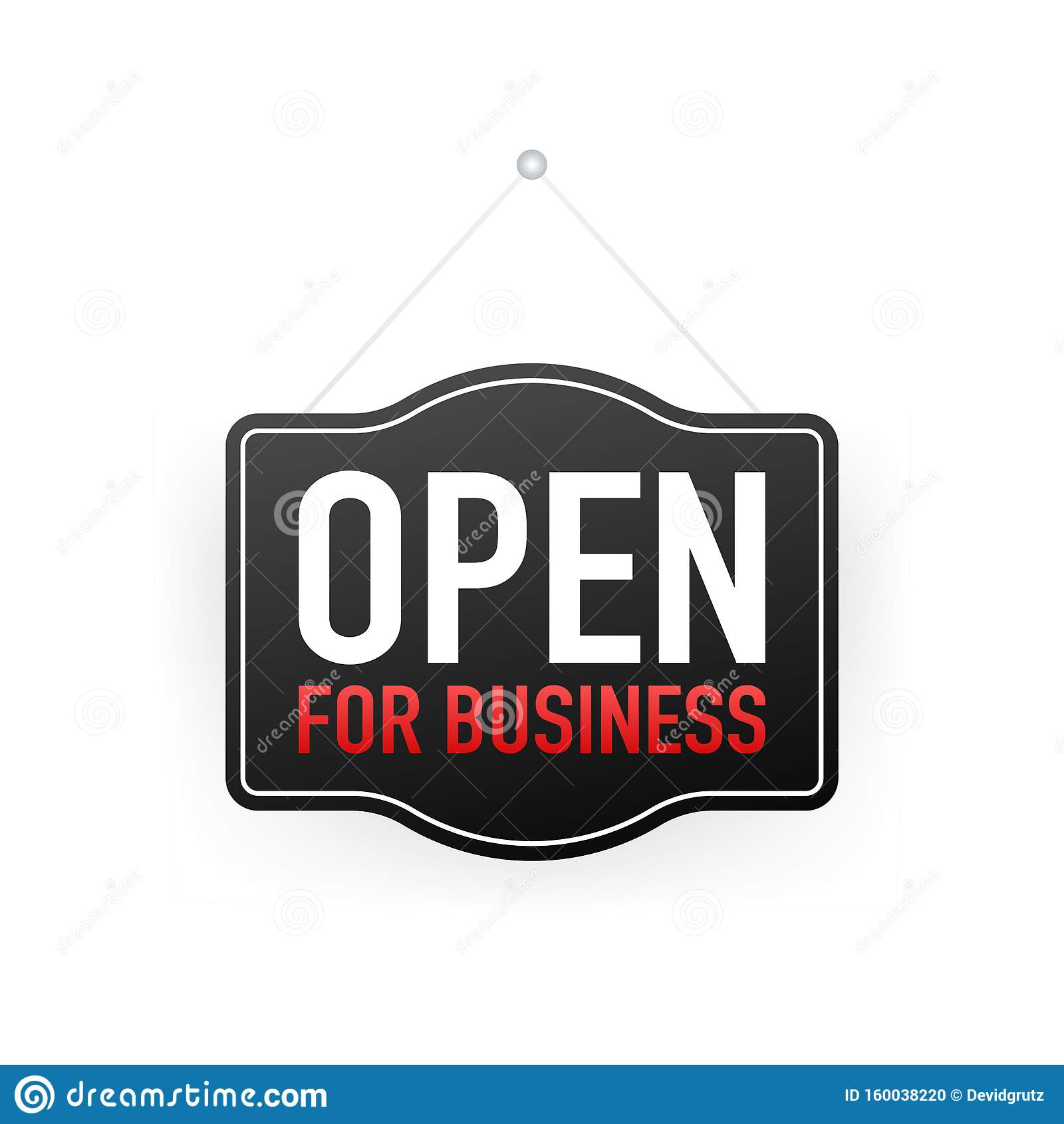 Open For Business Sign. Flat Design For Business Financial