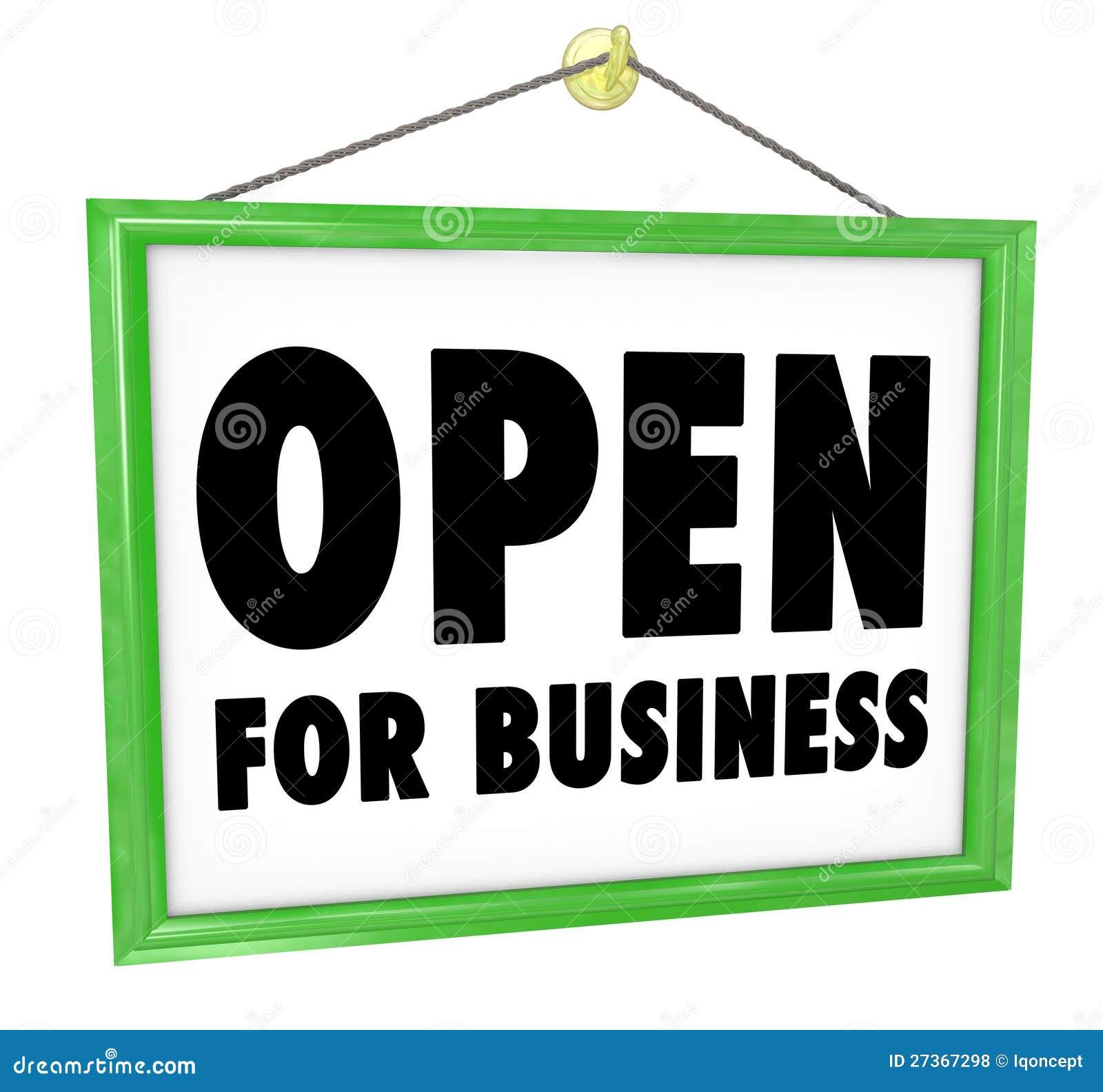 Open For Business Sign Hanging Store Window Door Royalty