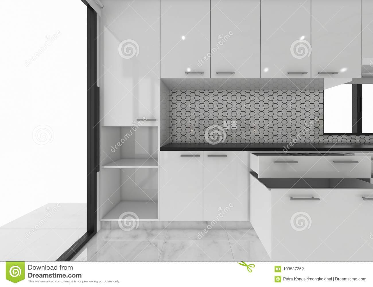 Open Cabinets Kitchen Ideas, 3D Rendering Mock-up Concept ...