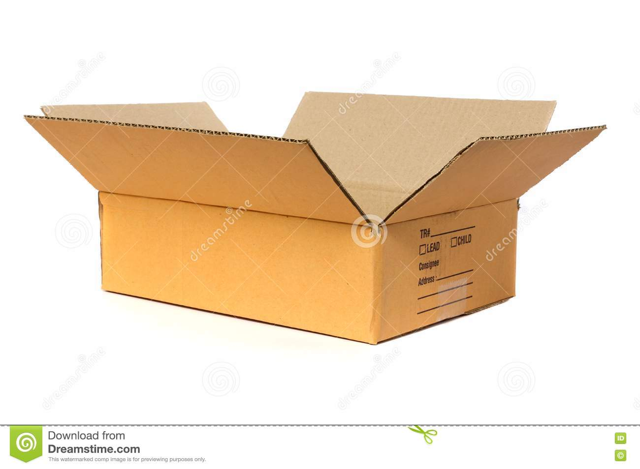 Open Cardboard Box With A Lid. Isolated On White Background Stock ...