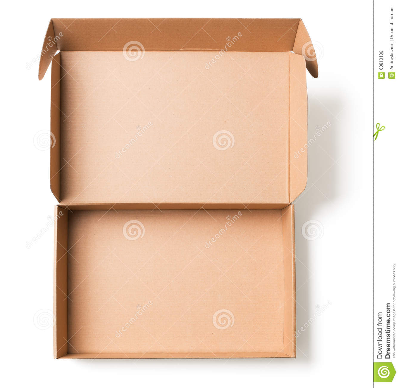 open cardboard box top view stock photo image 60810186. Black Bedroom Furniture Sets. Home Design Ideas