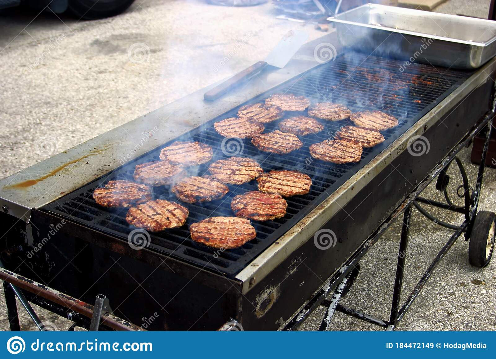 Open Charcoal Grill Cooking Burgers Stock Image Image Of Grilled Burger 184472149