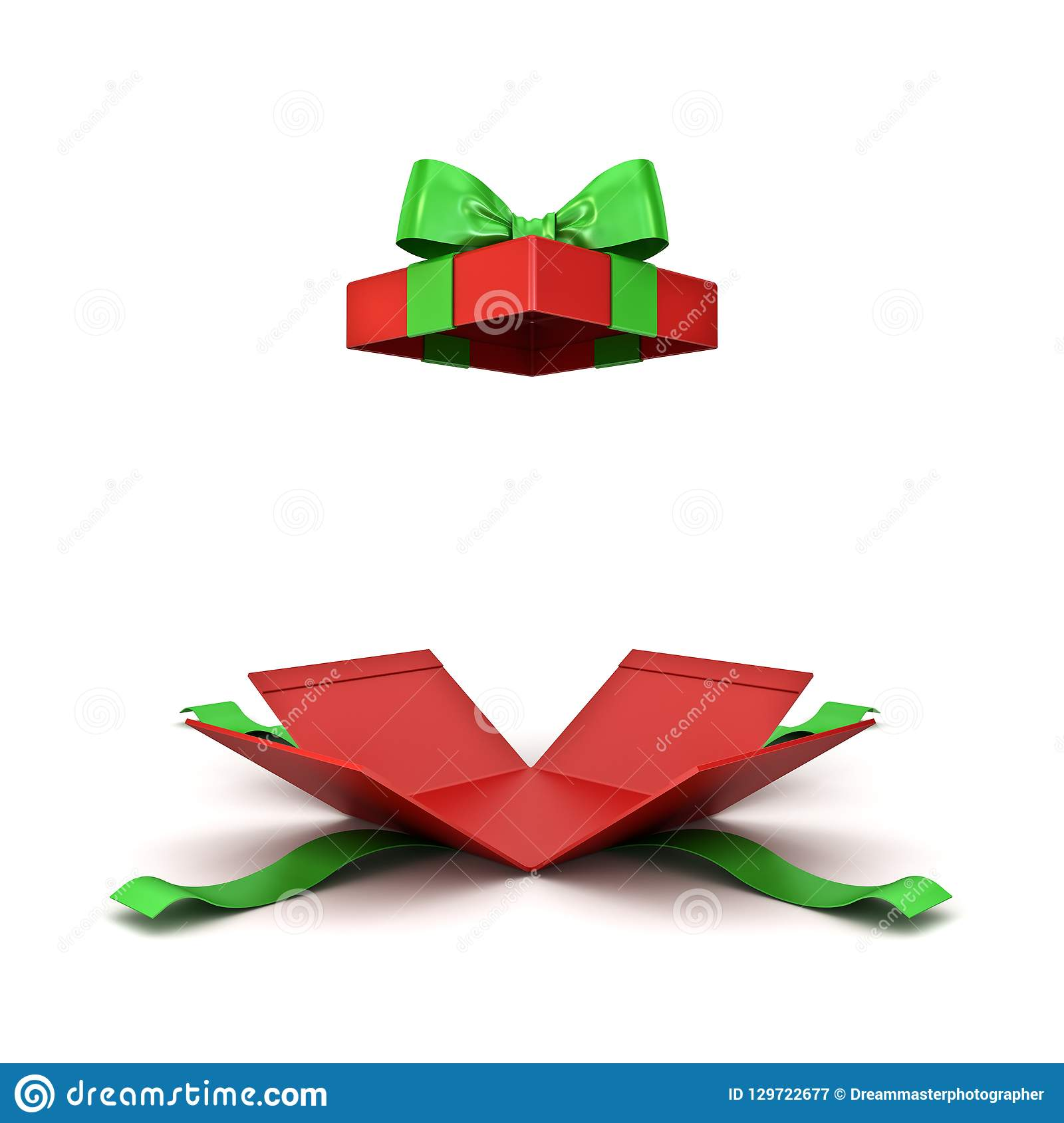 Open christmas gift box or red present box with green ribbon bow isolated on white background