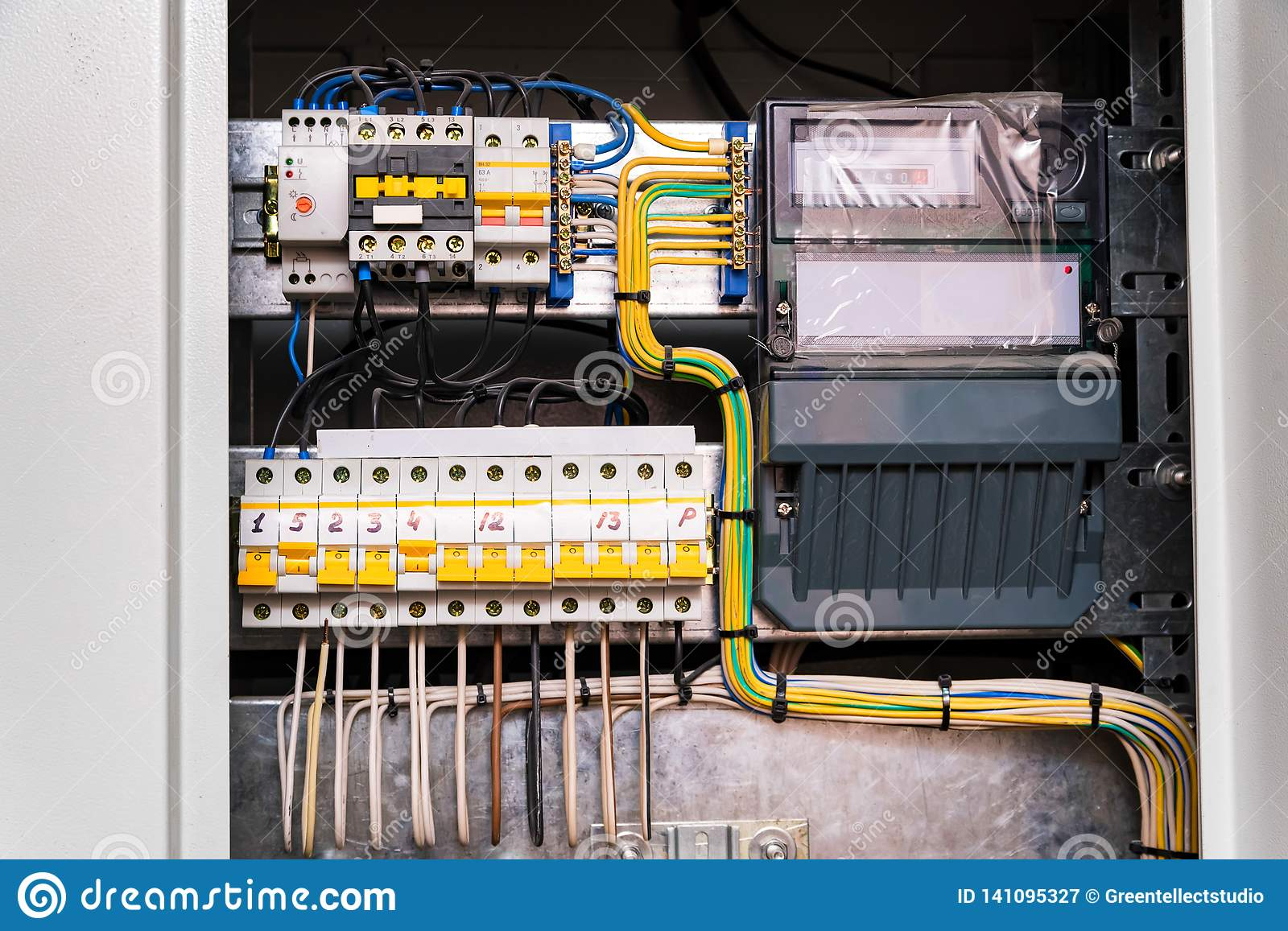 Open Circuit Board Connection Or Eletrical Panel In Modern ... on