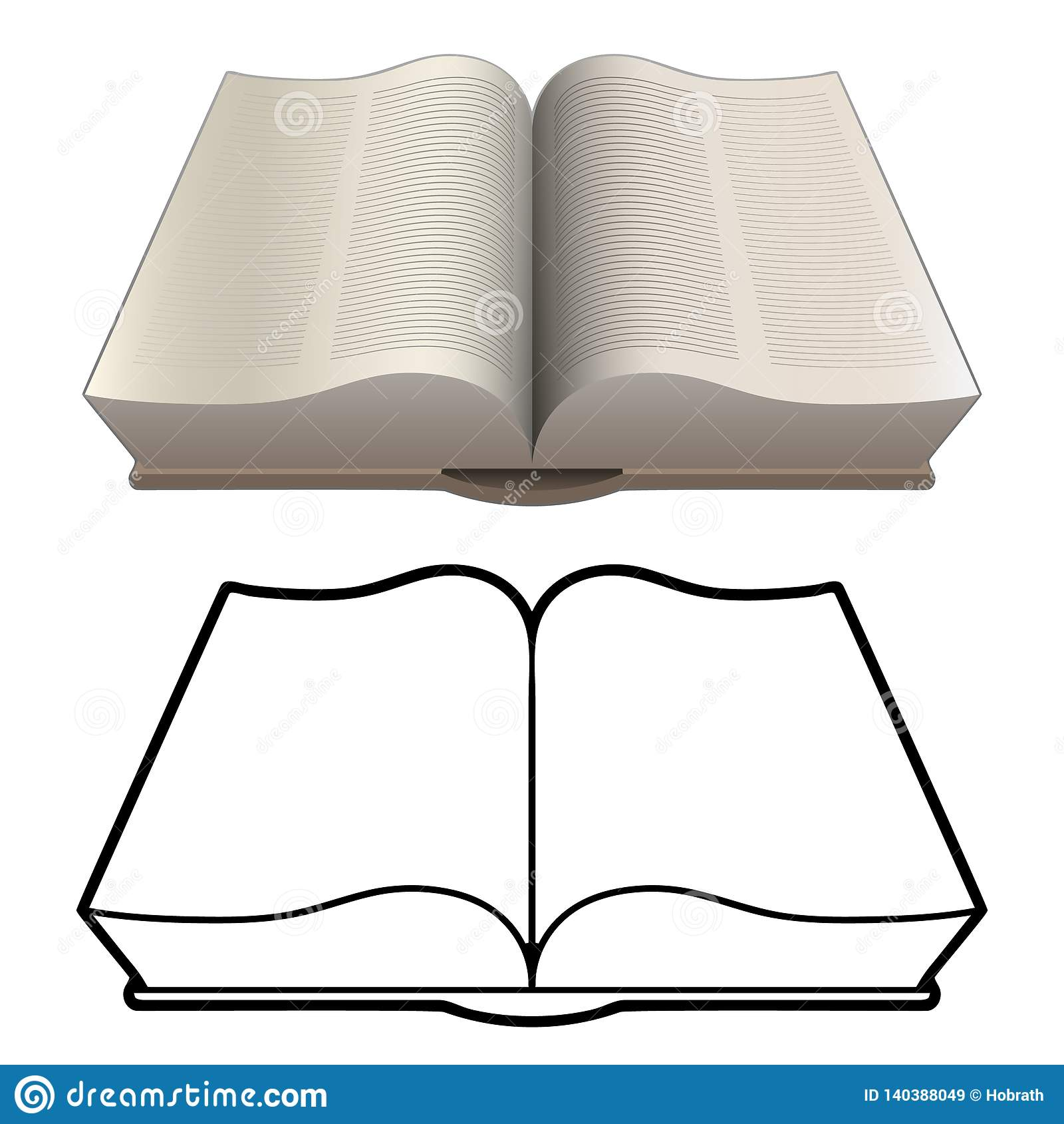 Open Book Line Drawing Open Classic Bi...