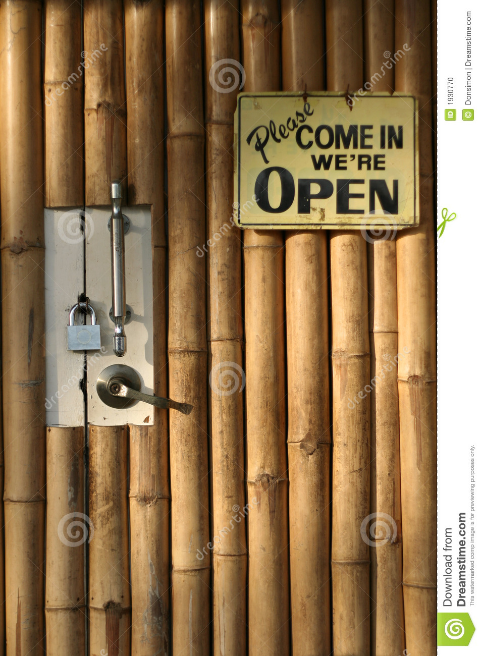 Open Closed Bamboo Door Background Stock Photo Image