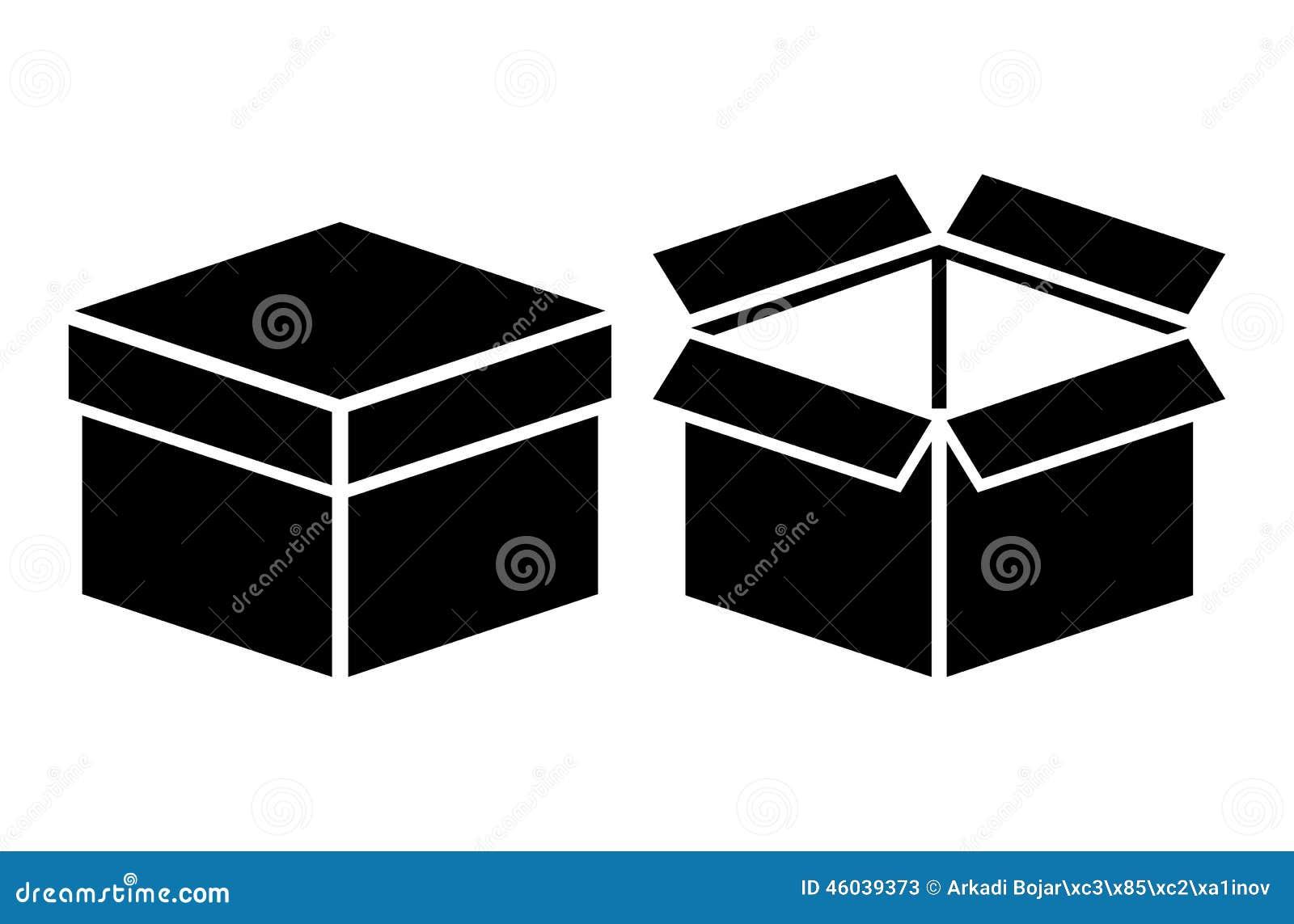 Open Closed Box Icon Stock Vector - Image: 46039373