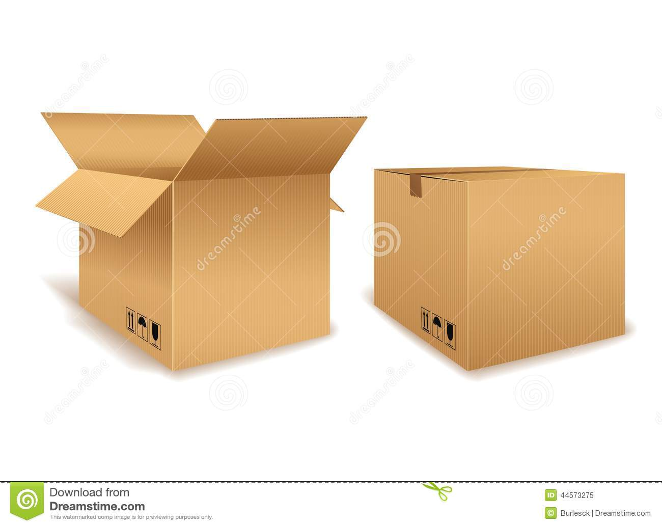 Open And Closed Cardboard Box Stock Vector Image 44573275
