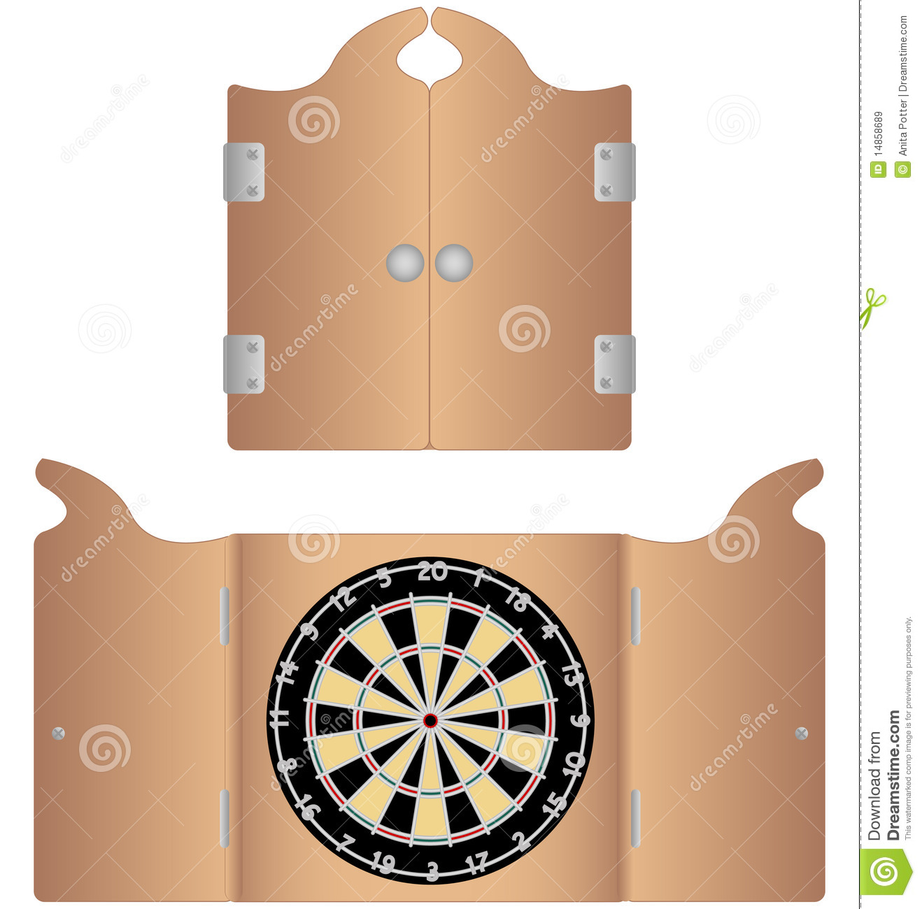 Open And Closed Dartboard Cabinet Stock Vector Illustration Of