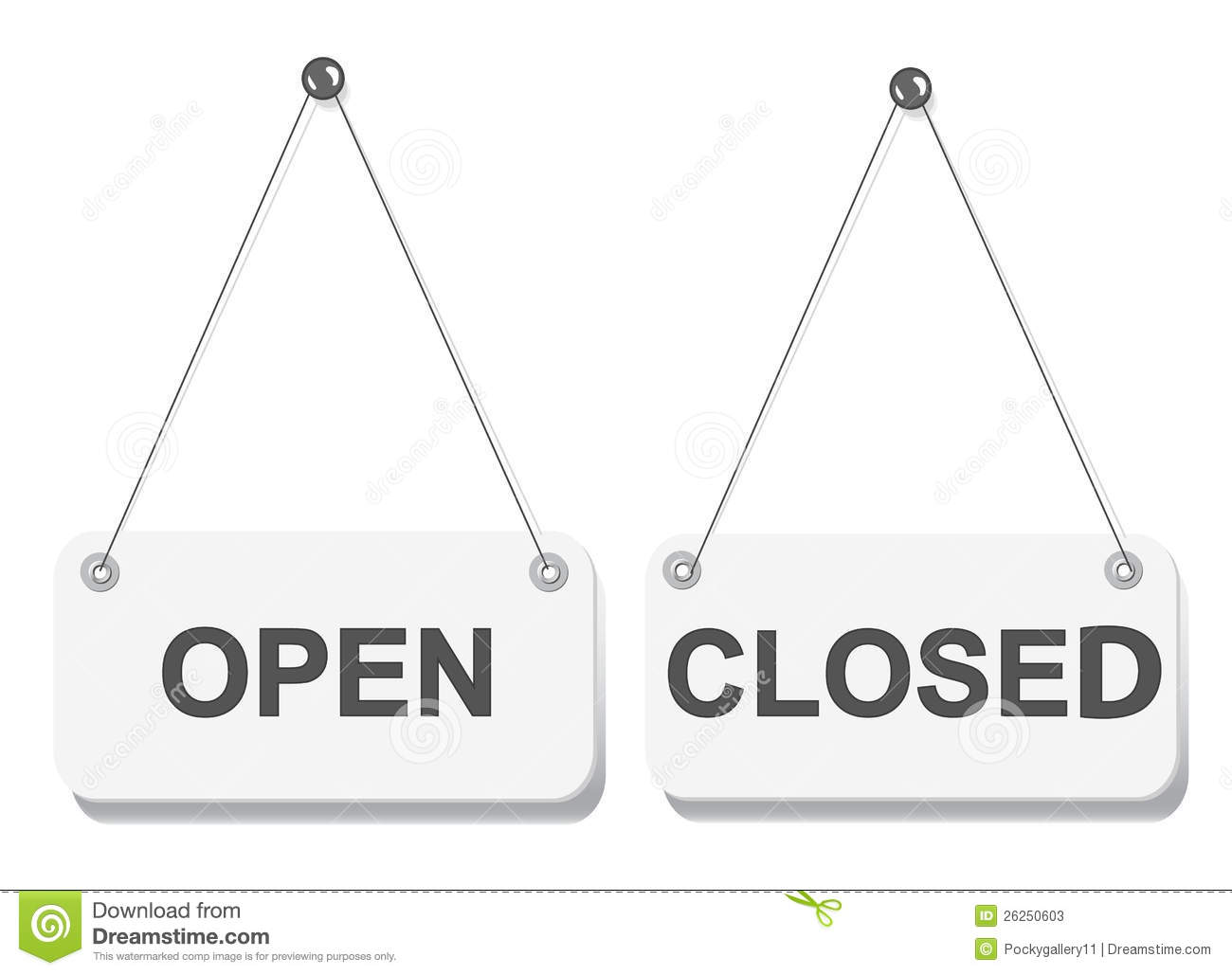 Open and closed door signs board Stock Photos