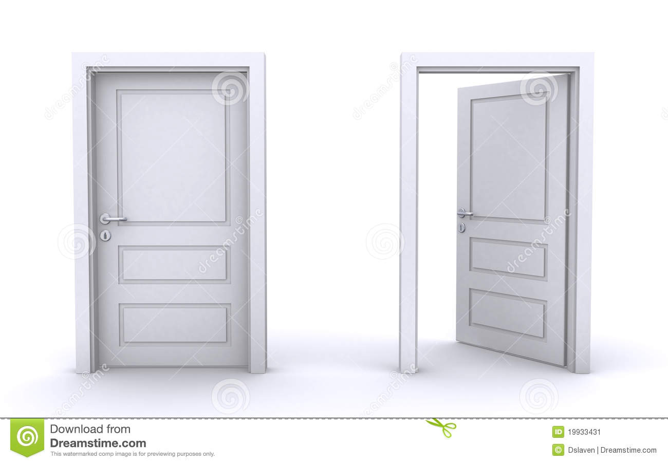 Open and closed doors stock illustration. Image of ...