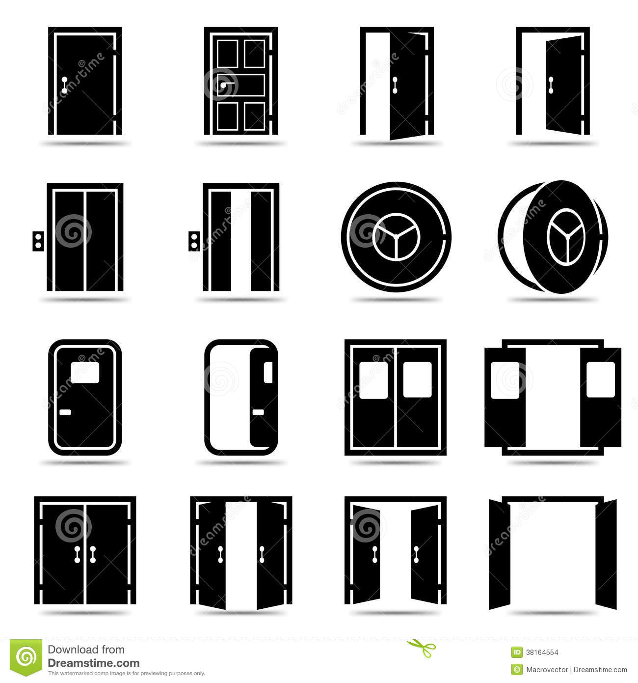 Stock Images Open Closed Doors Icons Set Image38164554 on modern home design plans