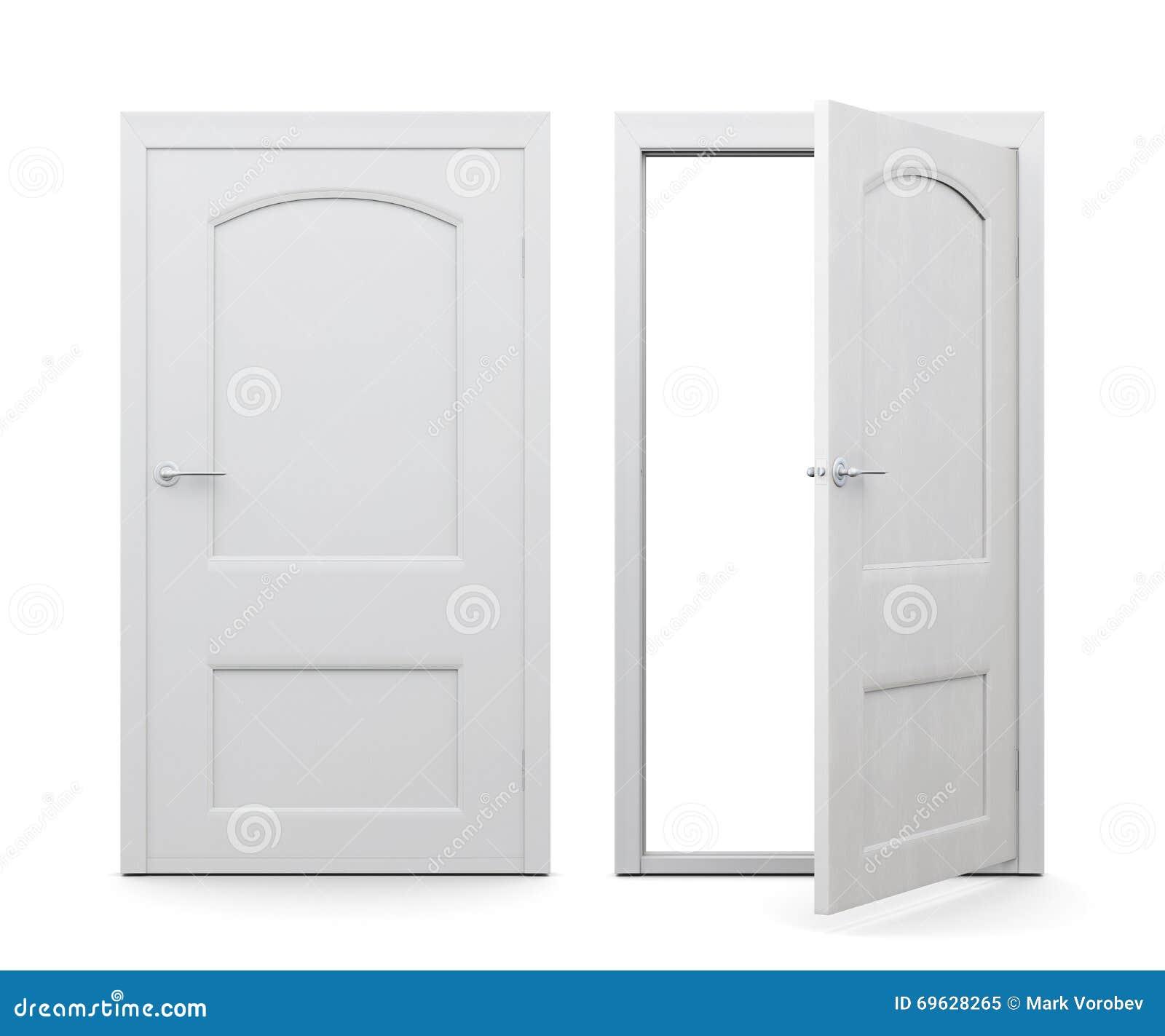 Open And Closed Doors : Open and closed doors on white background d rendering